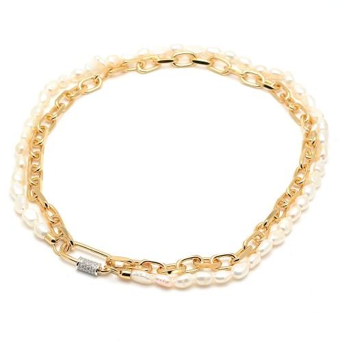 Collar Rebecca Dorado Eslabones Perlas