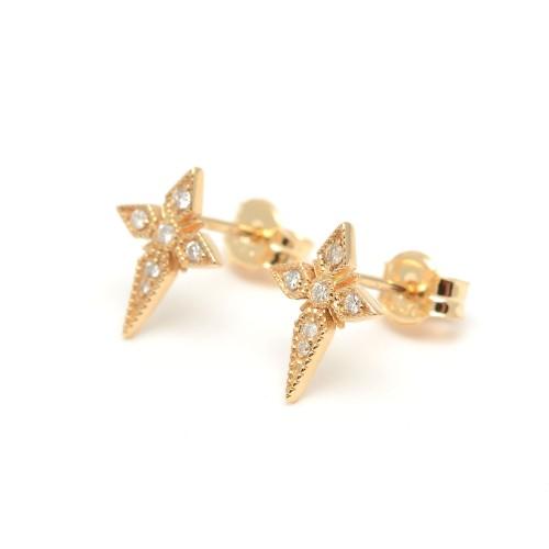 Pendientes Oro LeCarré Cruz Diamantes