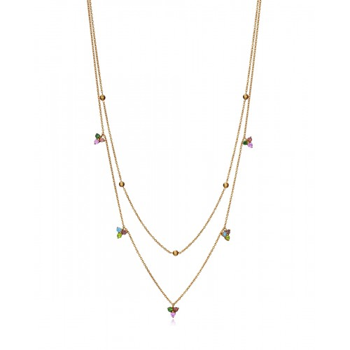 Collar Dorado Viceroy Doble Circonitas Colores