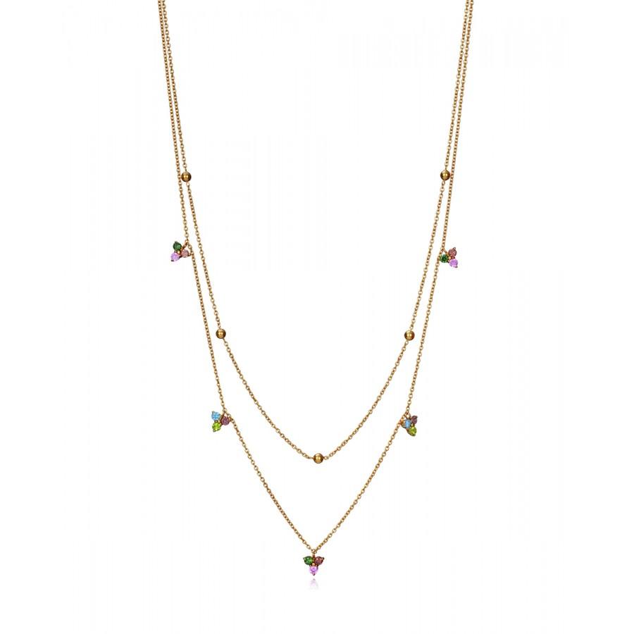 Gargantilla Viceroy doble dorada de cristales de colores