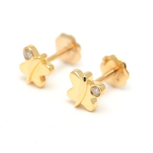 Pendientes Oro Bebé Niña Infantil Mariposas con Diamantes