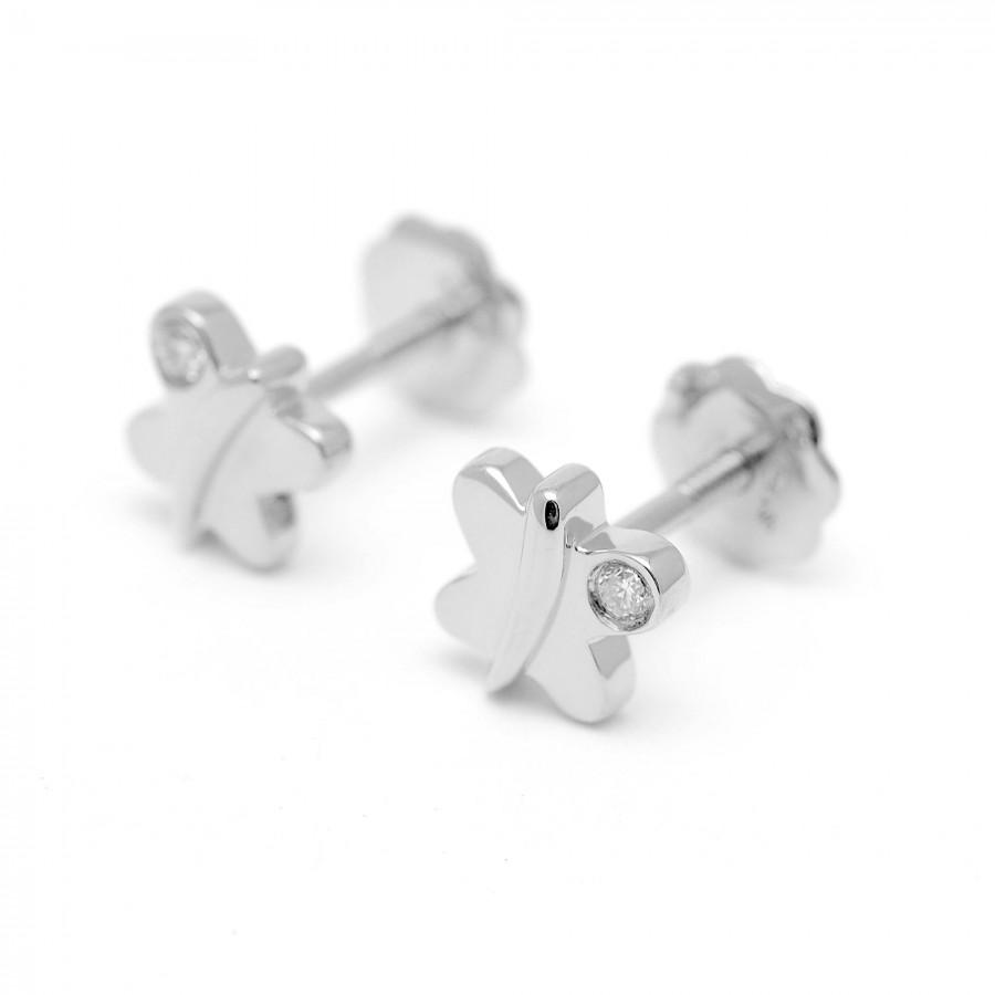 Pendientes Oro Blanco Bebé Niña Infantil Mariposas con Diamantes