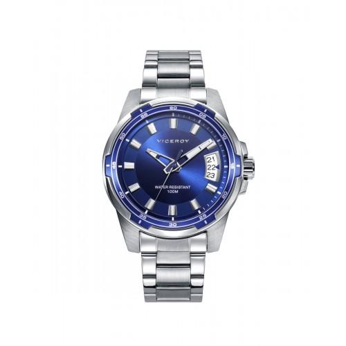 Reloj Viceroy Azul Sumergible Brazalete Acero