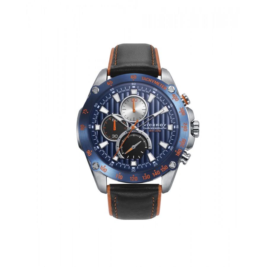 Reloj Viceroy Chico Deportivo Azul con Correa de Piel Negra