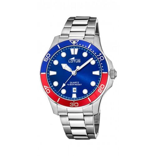 Reloj para hombre Lotus azul y rojo con brazalete de acero