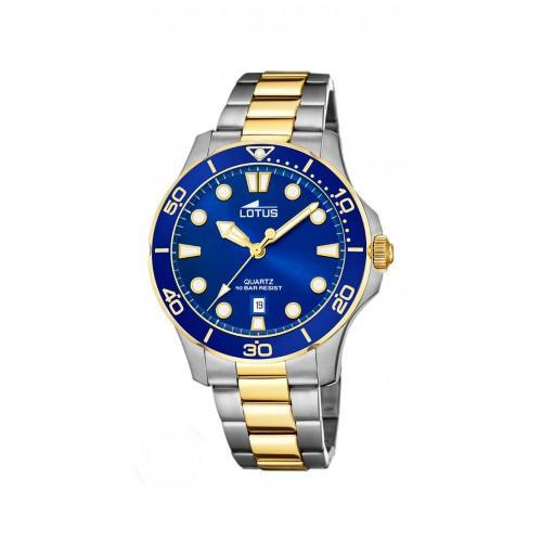 Reloj para chica Lotus azul con brazalete de acero dorado