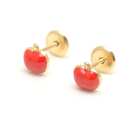 Pendientes Oro Bebé Manzana Roja