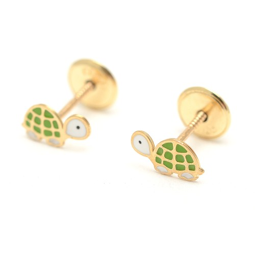 Pendientes Oro Bebé Tortuga Verde