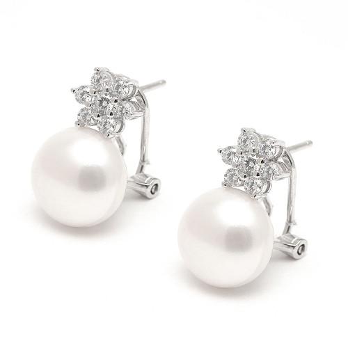 Pendientes Plata Perla Circonita