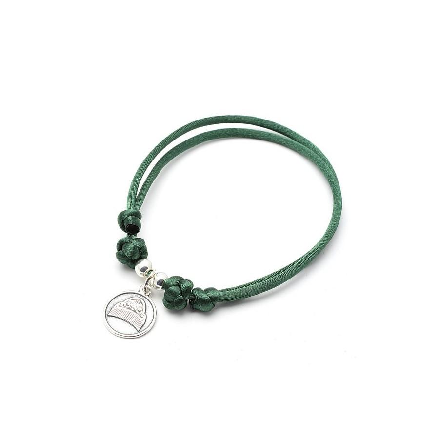 Pulsera Peineta Plata Cordon Verde