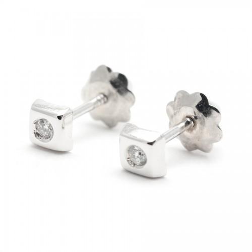 Pendientes Diamantes Oro Blanco Cuadrado