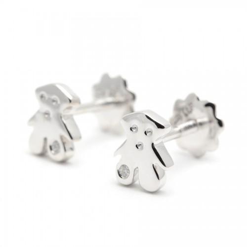 Pendientes Diamantes Oro Blanco Osito