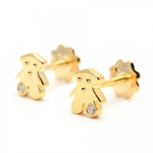 Pendientes Diamantes Oro Osito