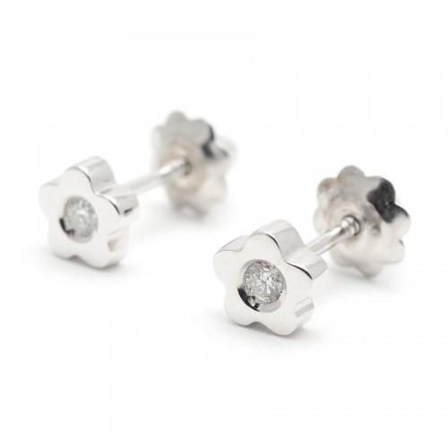 Pendientes Diamantes Oro Blanco Flor