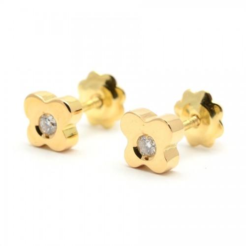 Pendientes Diamantes Oro Mariposa