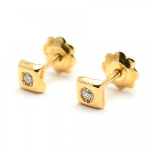 Pendientes Diamantes Oro Cuadrado