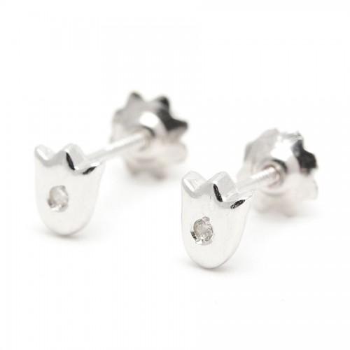 Pendientes Diamante Oro Blanco Tulipán