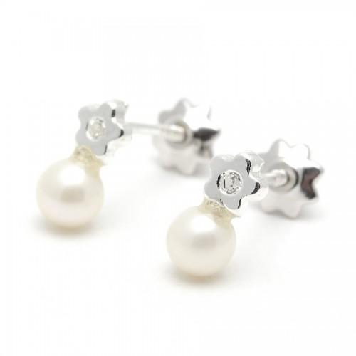 Pendientes Plata Perla Estrella Circonita